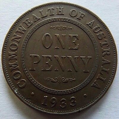 1933 Australia Penny! Very High Grade! Nice Details! Valuable In High Grades!