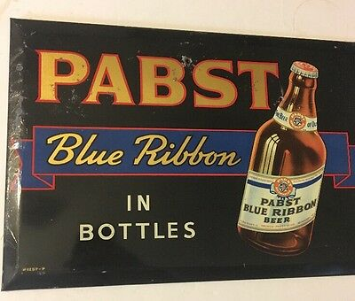 Rare Original Vintage 1930-40's Pabst Blue Ribbon Tin Over Cardboard Sign