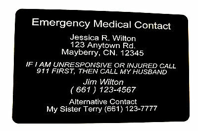 Medical Emergency Contact Card - Lasts Forever! Laser Engraved Metal!