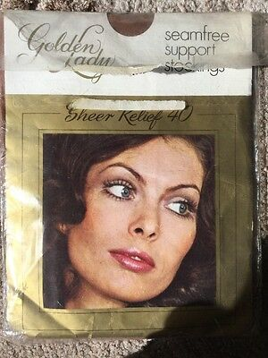 """Vintage Seamfree Support Stockings """"Golden Lady"""""""