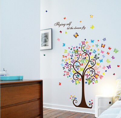 Butterfly Tree Wall Stickers Nursery Kids Room Removable Mural Decals Home Decor