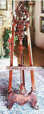 Hand Carved, Hand Made, Mahogany Victorian/Rococo Display Easel