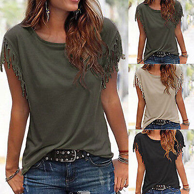 Women Fringe Summer Loose Top Short Sleeves Blouse Casual Tops Ladies T-Shirt