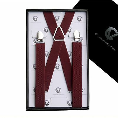 Men's Burgundy X2.5cm Braces Suspenders Mens