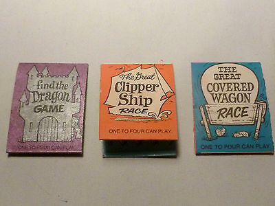 RARE Vtg Cracker Jack Prize Lot 3 Scratcher games Dragon Clipper Ship Wagon Race