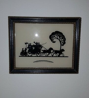 Unsigned Framed Miniature Silhouette Horse Drawn Carriage with Driver