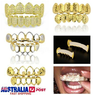 Gold Plated Diamonds Hip Hop Teeth Grillz Mouth Caps Top Bottom Tooth Grill Set