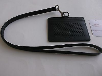 Coach Perforated Large Black Leather Lanyard ID Badge F65209 NWT $95