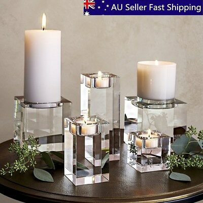7 SIZES Modern Elegant Crystal Candle Holders Tealight Stand Wedding Table Decor