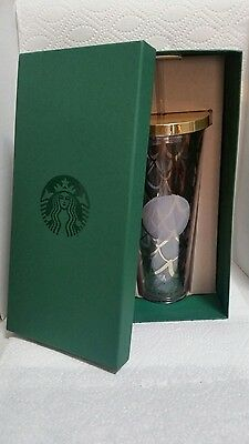 STARBUCKS SCALES GOLD CUP with Straw 24 oz Gold Clear Tumbler 2016 Holiday NEW