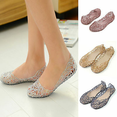 Women Crystal Glitter Plastic Jelly Hollowed Flats Ballet Sandals Boat Shoes New