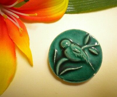 Antique Bird On Branch Ceramic Tile Vtg Green Majolica Picture Button