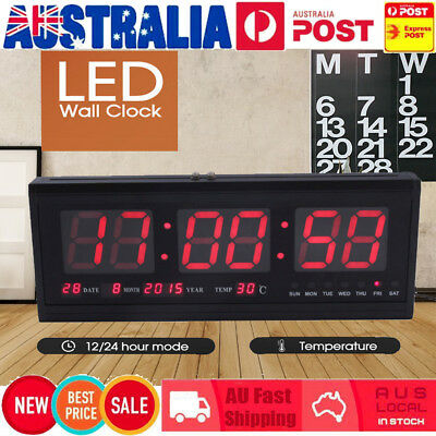Red Digital Large Jumbo LED Wall Alarm Calendar Desk Clock Temperature AU 4819#