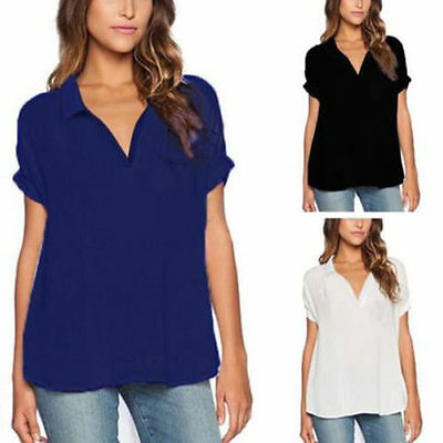 Oversized Womens V Neck Slit Tops T-shirt Casual Loose Blouse Chiffon Shirts Tee