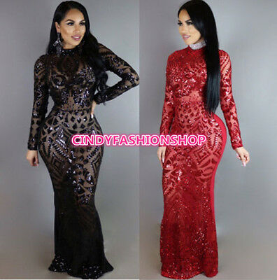 USA Women Long Sleeve  See through Sequin Elegant Party Club Prom Maxi Dress