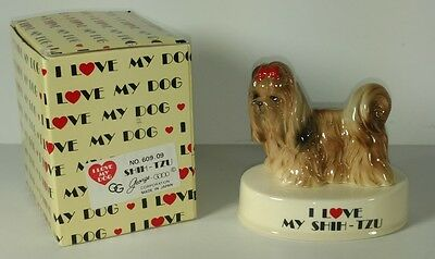 I Love My Shih-Tzu Dog Porcelain Figurine Shihtzu Vintage George Good 1980 Japan