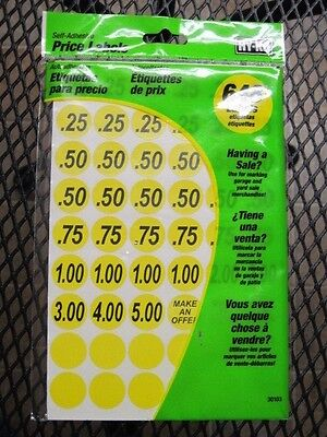 "Hy-Ko Price Labels Yellow 3/4""  Garage Sale, Yard Sale 648 Labels NEW # 30103"