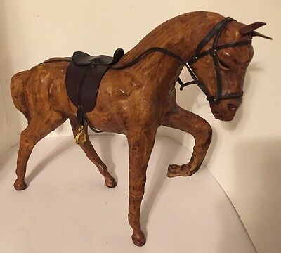 """Leather Wrapped Horse with Leather Saddle Sculpture Glass Eyes 11"""" Tall VTG"""