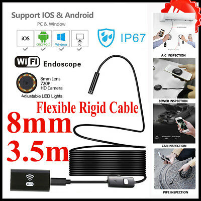 8MM Flexible Wifi Endoscope Inspection HD Camera USB For IOS Android PC Samsung