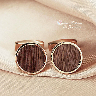 18K Rose & White Gold Plated Round Shaped Wood Pattern Brown Men`s Cufflinks
