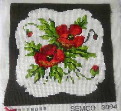 Vintage Completed Semco Tapestry Cushion Front Poppies