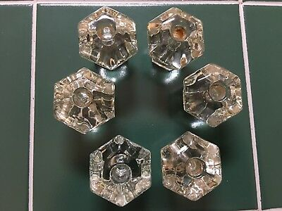 Six Vintage  Clear Glass Door Drawer Knob Handle Pull Octagonal