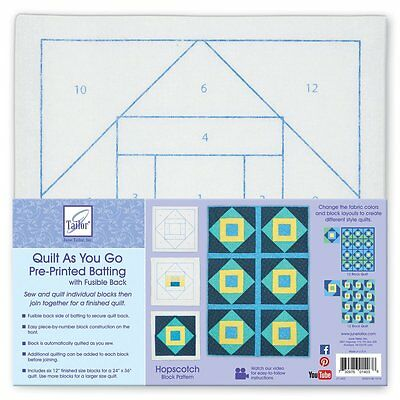 June Tailor Polyester Quilt As You Go Printed Blocks on Batting-Hopscotch