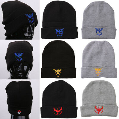 Pokemon Go Team Mystic Team  Valor Instinct Knitted Baggy Hat Cap Beanie Unisex