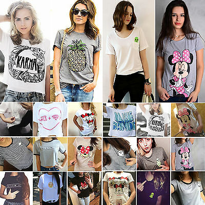 Womens Summer T-Shirt Short Sleeve Graphic Tops Tee Shirt Blouse Plus Size 6-18