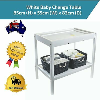 Baby Nappy Change Table with Storage 2 Shelves Nursery White Wooden Sturdy Safe