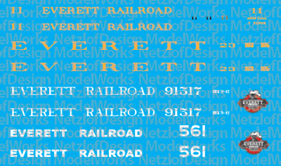 HO Scale - Everett Railroad Excursion Service Decals
