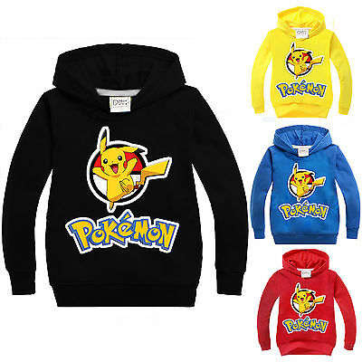 Pokemon Kids Clothes Boys Girls Jumper Hoodie Sweatshirts T-Shirts Pikachu Tops