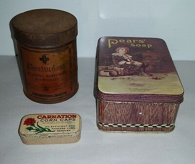 3 old tins Elastoplast War Time container, Carnation Corn Caps, Pears Soap repro