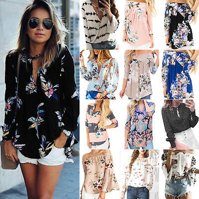 Womens Floral Chiffon Shirts Blouse Casual Loose Long Sleeve T Shirt Summer Tops