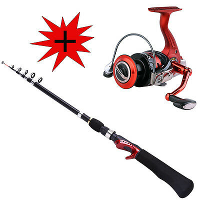 Telescopic Fishing Rod with Spinning Reel Set Portable Travel Fishing Rod Combo