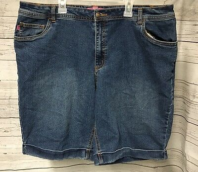 Woman Within Jean Walking Shorts SZ 18W Cotton Blend 5 Pocket Flat Front Casual
