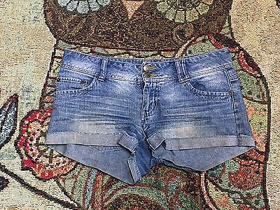Tyte Junior SZ 5 Flat Front Distressed Cuffed Booty Short Shorts Cotton Grunge