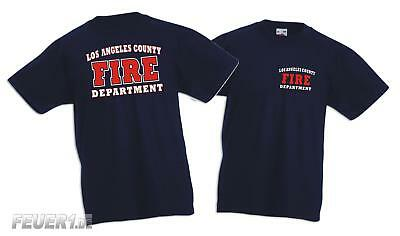 Kinder T-Shirt navy,  L.A. County Fire Department in weiss/rot