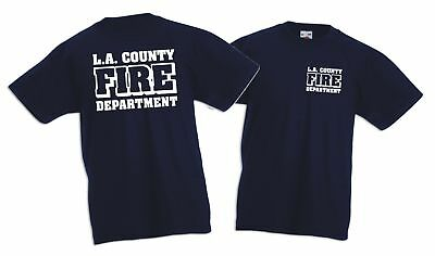 Kinder T-Shirt navy,  L.A. County Fire Department in weiss