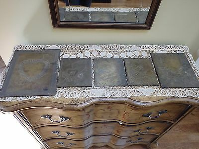 Vintage Lot of 5 Heart Themed Brass Or Bronze Printing Plates