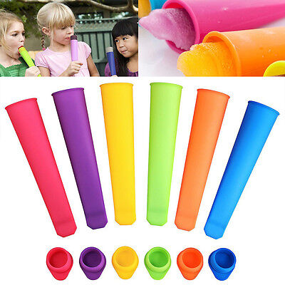 6x Silicone Push Up Frozen Stick Ice Cream Yogurt Jelly Lolly Maker Mould UK