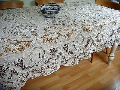Magnificent Vintage Hand Made Needle Lace Figural Tablecloth Large 300 X 170Cm