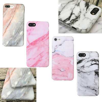 Elegant Pastel Marble Pattern Rubber Soft Back Case Cover For iPhone 6 6s 7 Plus