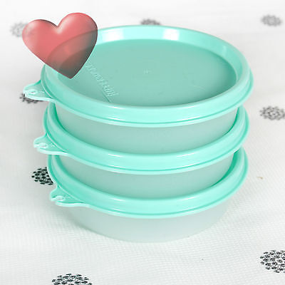 NEW Tupperware set of 3 Snack Rounds 180ml Mint Green seals