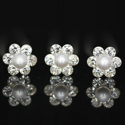 5 Bobby Pearl Flower Diamante Crystal Hair Pins Clips Prom Wedding Bridal Party