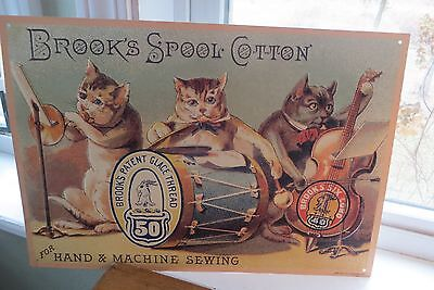 Not old Brooks Spool Cotton, Hand & Machine Sewing metal advertising sign, cats