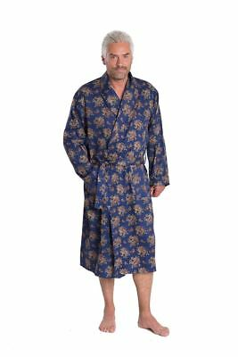 "Pure Cotton Lightweight Travel Gown ""Gatsby"" in Blue Paisley, Size Small to 4XL"