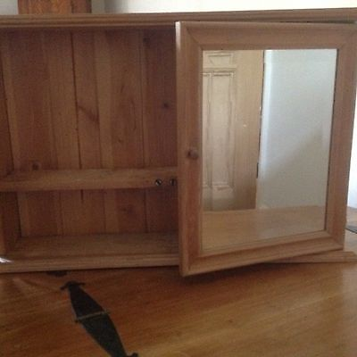 Pine Bathroom Wall Cabinet, Bevelled Edge Glass Front, 2 Doors - Collection Only
