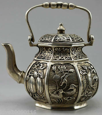 Collectible Decorated Old Miao Silver Carved Flower Bird Fish Fruit Tea Pot