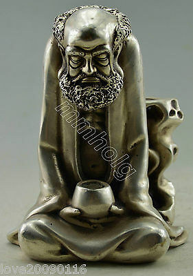 Collectible Decorated Old Handwork Silver Plate Copper Bodhidharma Buddha Statue